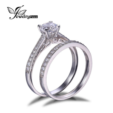 JewelryPalace 1.3ct Cubic Zirconia Anniversary Wedding Band Engagement Solitaire Ring Bridal Sets 925 Sterling Silver Jewelry