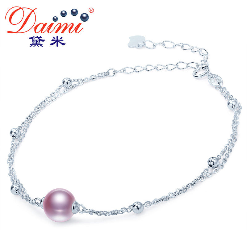 DAIMI 8-9MM Round Freshwater Pearl Bracelet, 925 Sterling Silver