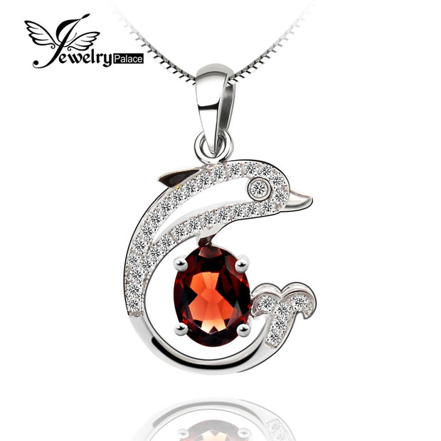 Halo Shining Dolphin Garnet Gemstone Pendant Solid 925 Sterling Silver
