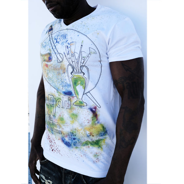 The splatter artwork white body t-shirt