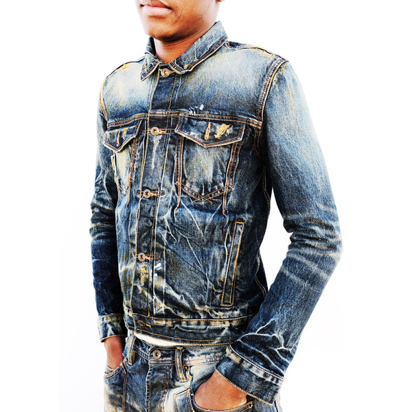 The Blu Danyaki Gesture Denim jacket, 100% cotton, Japanese selvage Denim