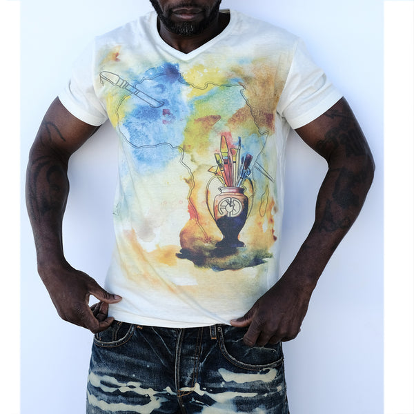 wet on wet art Hand painted v-neck t shirt