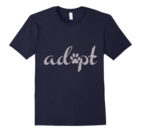 """Adopt"" Pet Adoption / Rescue T-shirt with Paw Print"