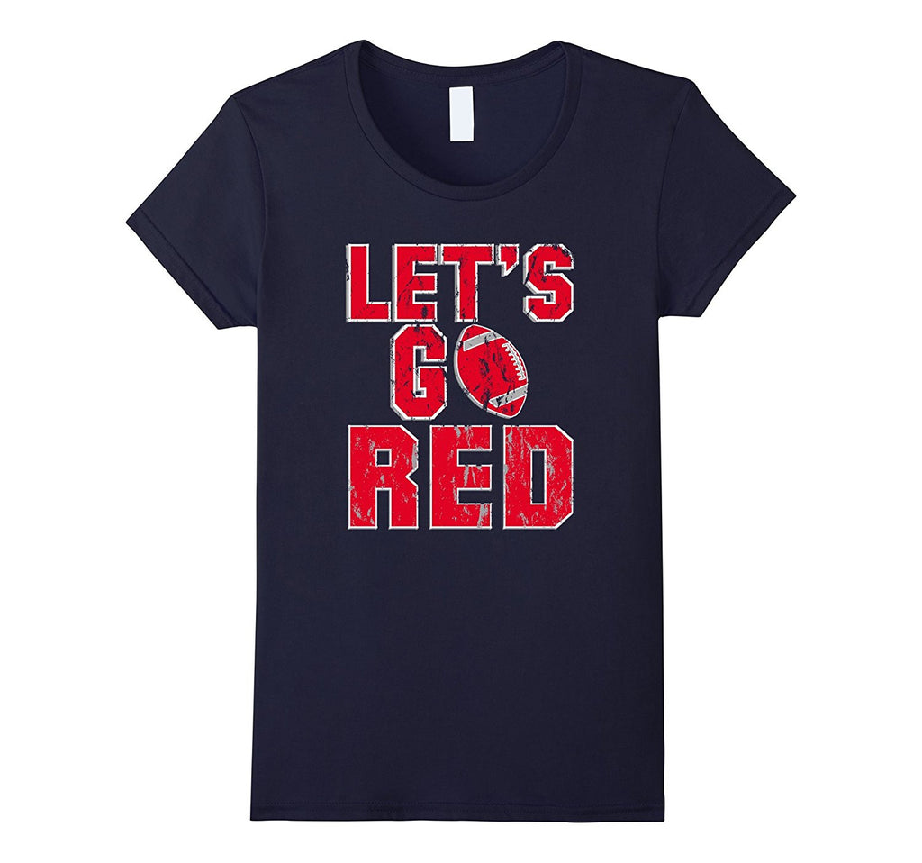 Football Mom T-Shirt - Lets Go Red - Football T-Shirt