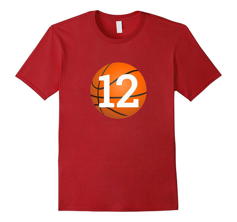 """#12 Birthday Basketball"" Birthday T Shirt"