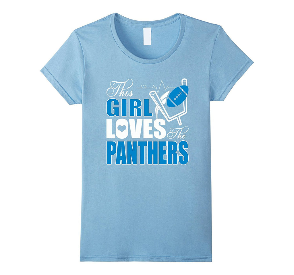 Womens Football Sports Gear Girl Loves Panthers T-Shirt