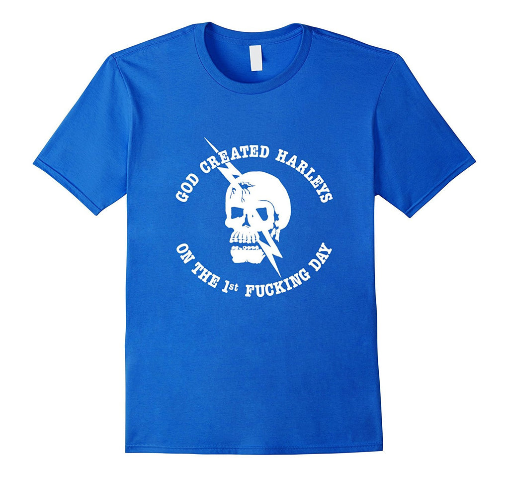 God Created Harleys On The First Day Biker Skull Shirt
