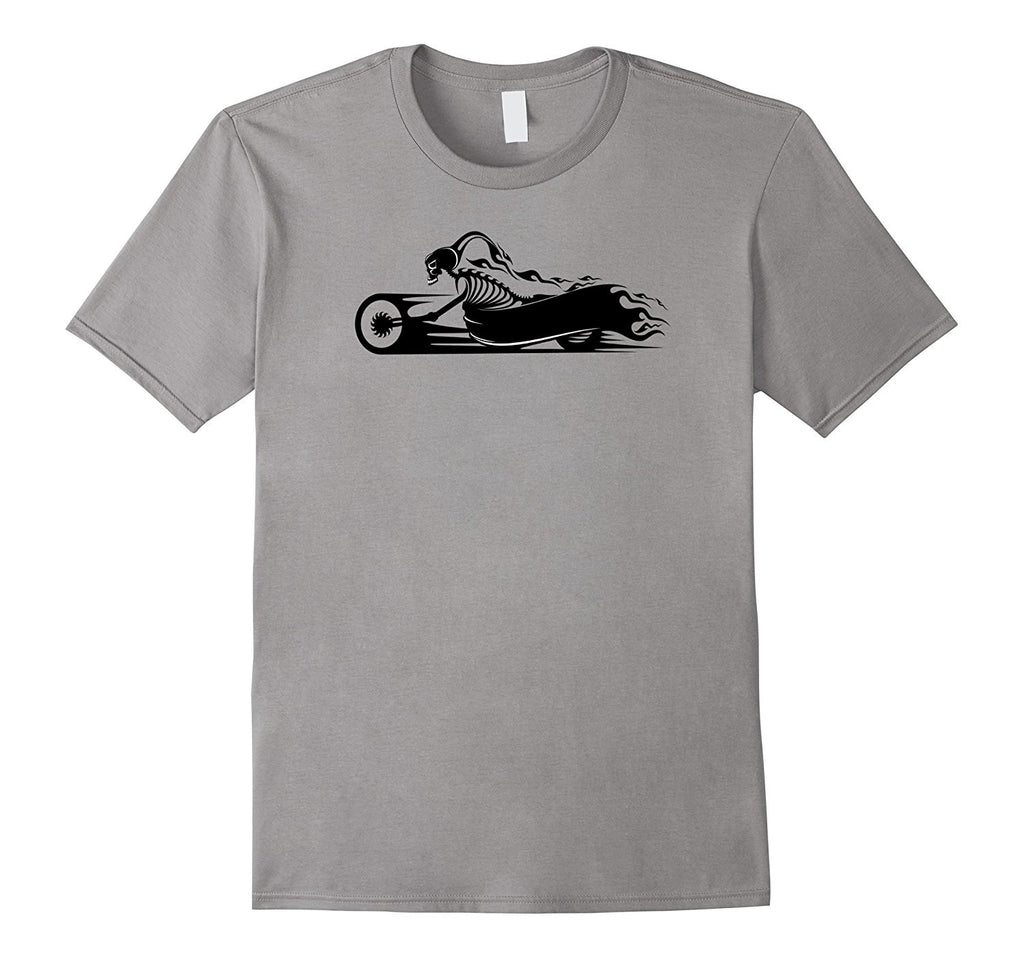 Skeleton Biker on Motorcycle Rider Chopper Shirt Tshirt