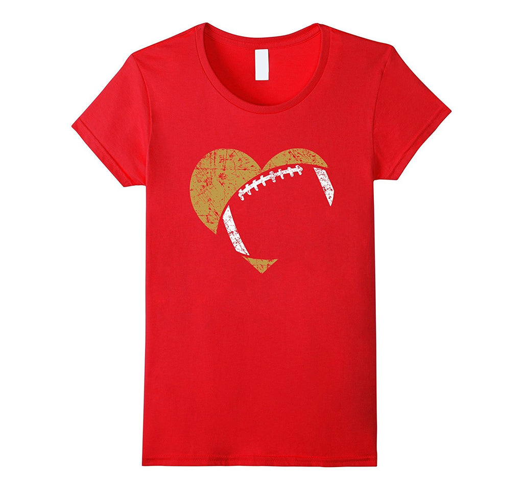 Football Heart Cutout Shirt- Gold & White Team Game Gift
