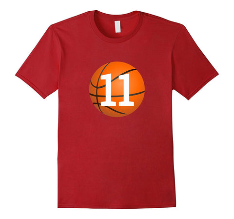 """#11 Birthday Basketball"" Birthday T Shirt"