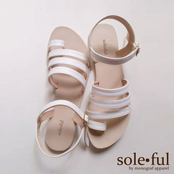Liza Flat Sandals-Soleful by Monograf Apparel (White)