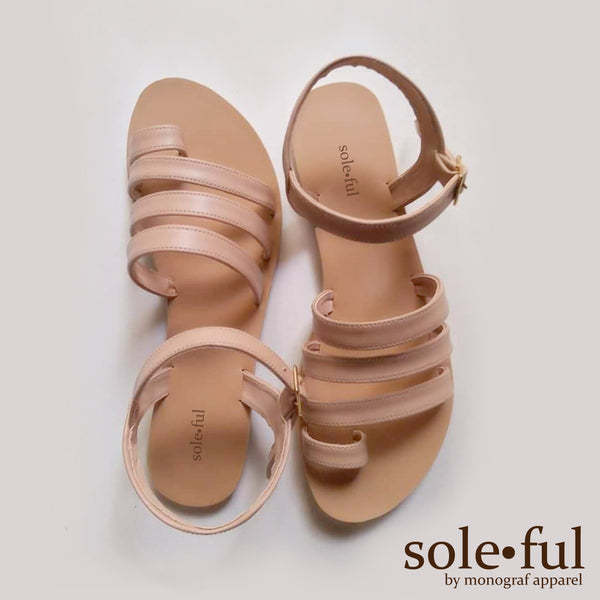 Liza Flat Sandals-Soleful by Monograf Apparel (Beige)
