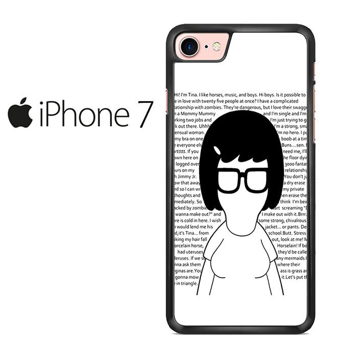 Tina Belcher With Quotes Black And White Iphone 7 Case