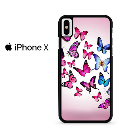 Butterfly Drawing Flying Colorful Pink Iphone X Case