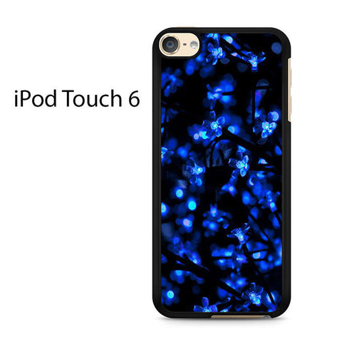 Blue Crystal Flower Black Ipod Touch 6 Case