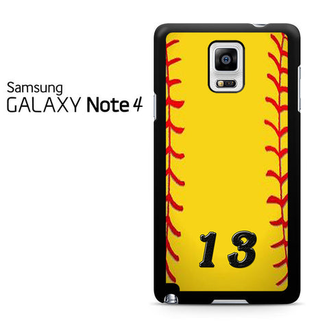 13 Custom Softball Samsung Galaxy Note 4 Case