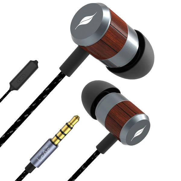Leaf Bolt Wooden Wired Earphones - Leaf Ear
