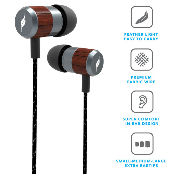 Leaf Bolt Wooden Wired Earphones - Leaf