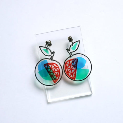 Apple Transparent Earrings with interesting coloured shadow