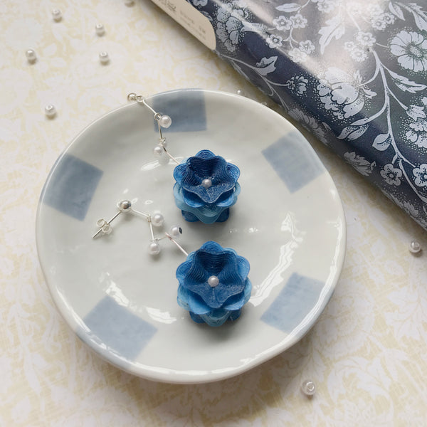 Blue and Pink Blossom earrings to match with your daily wears!