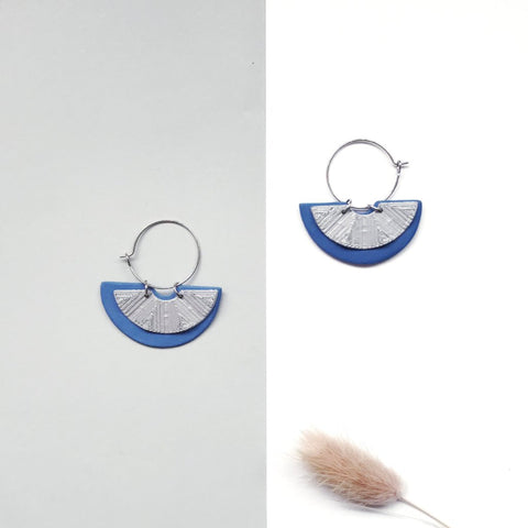 Mini Moon Blue (with Silver) Hoop Earrings
