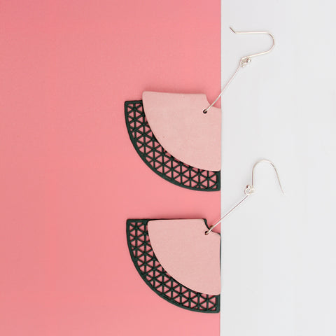 curious touch - Pink and Forest Green porcelain and 3D earrings