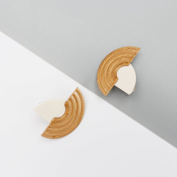 White (with Gold) Studs Earrings