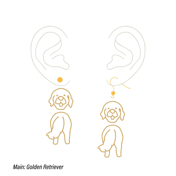 Golden Retriever custom two tiers earrings (head&butt)