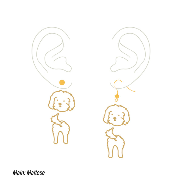 Maltese custom two tiers earrings (head&butt)
