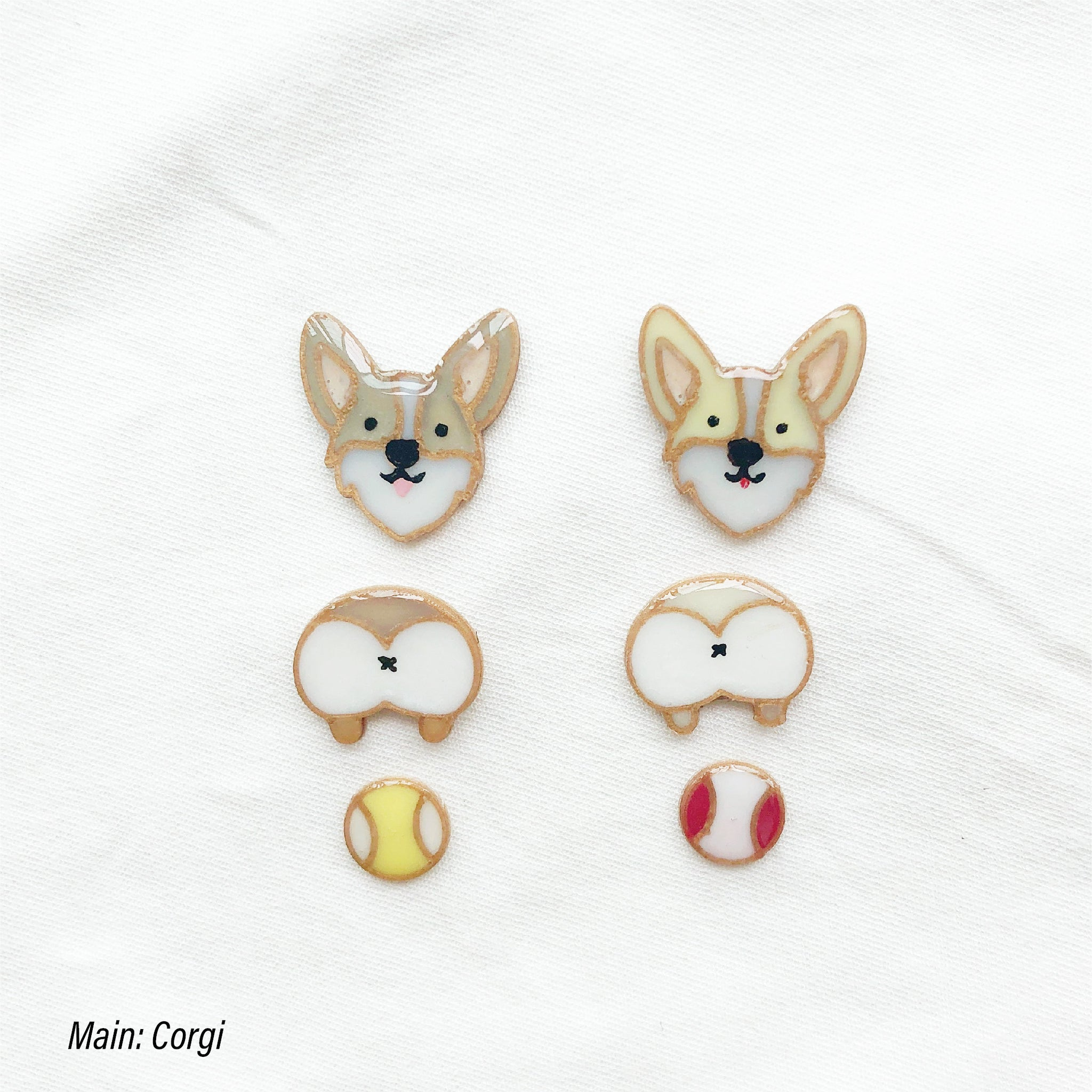 Corgi custom three tiers earrings