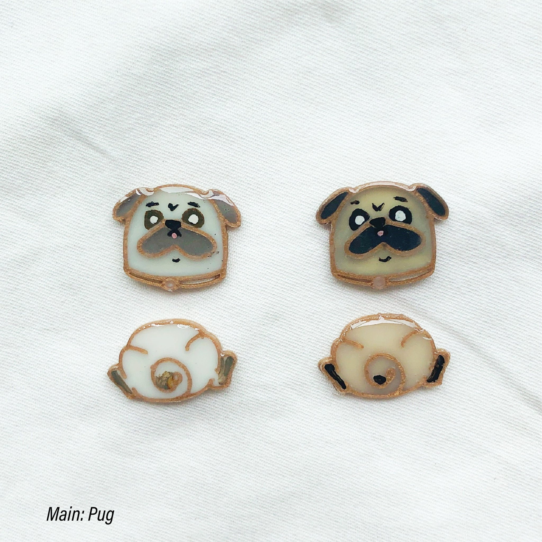 Pug custom two tiers earrings (head&butt)