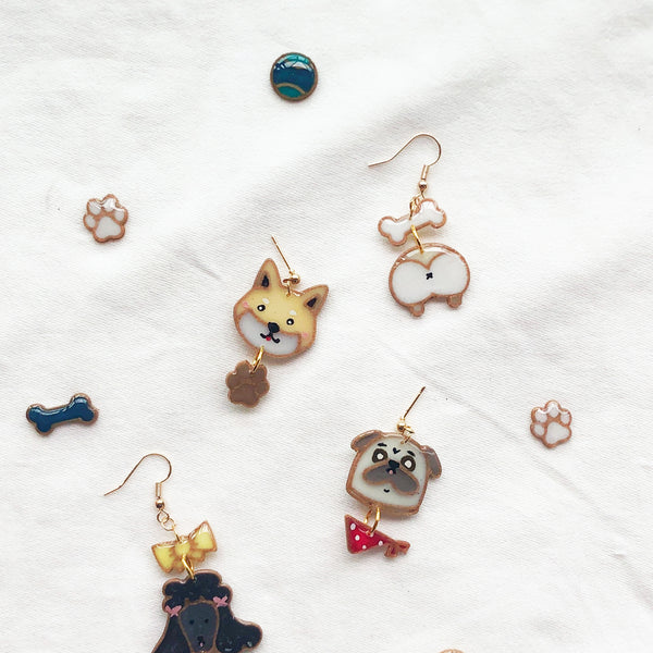 Toy Poodle custom two tiers earrings