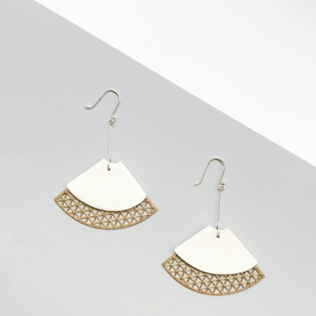 Classic White (with Gold) dangling Earrings