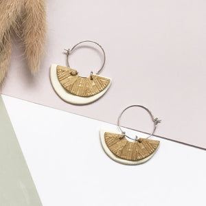 Mini Moon White (with Gold) Hoop Earrings