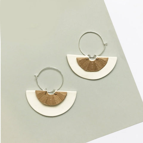 Moon White (with Gold) Hoop Earrings