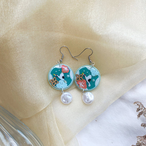 Cranes Teal w irregular pearls