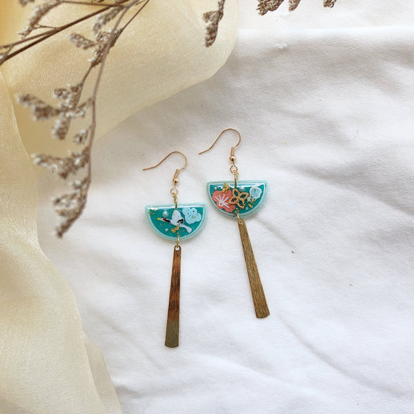 Cranes Teal w gold dangling