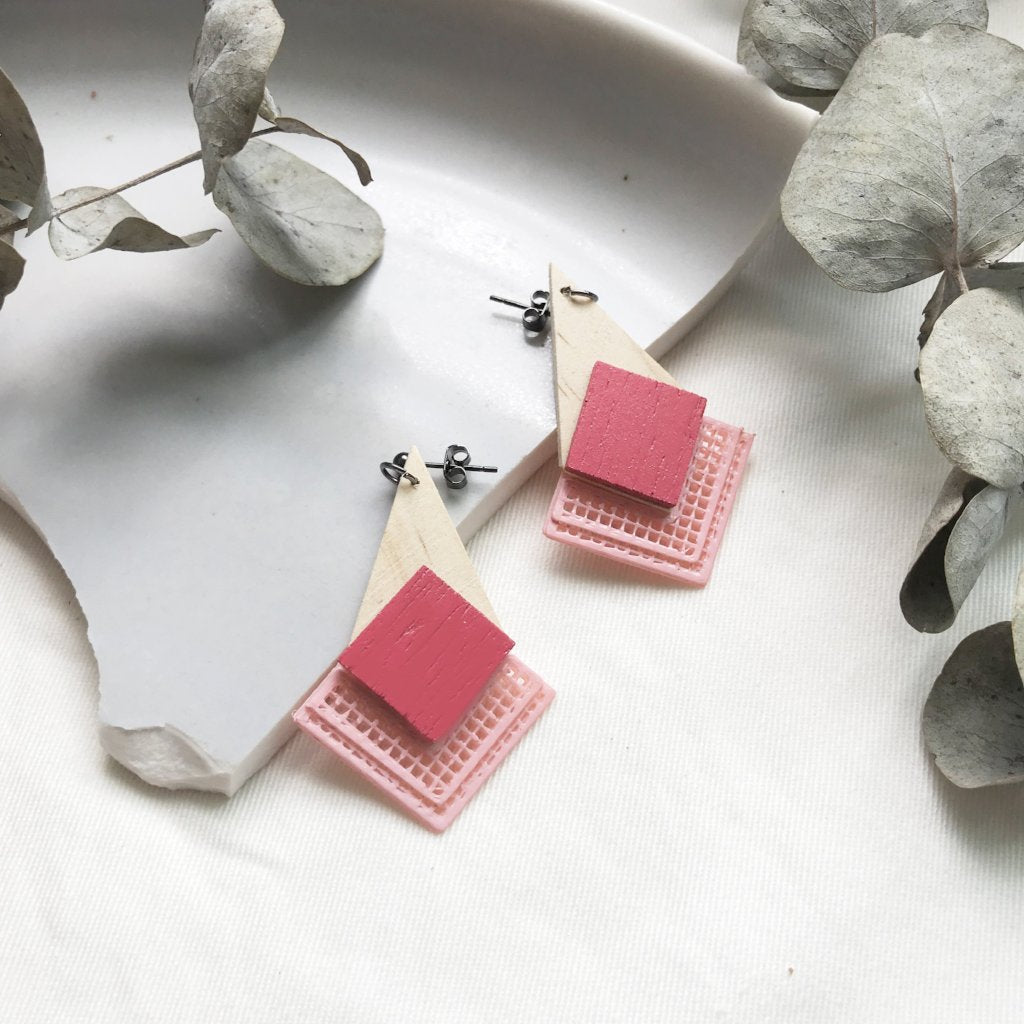 Classic Pink (with soft pink) dangling Earrings