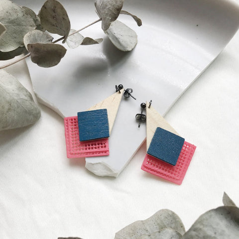Navy Blue (with classic pink) dangling Earrings