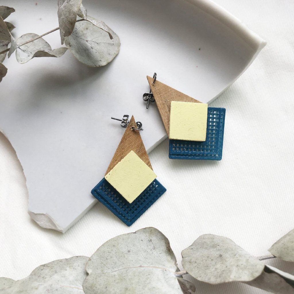 Pale Yellow (with Navy Blue) dangling Earrings