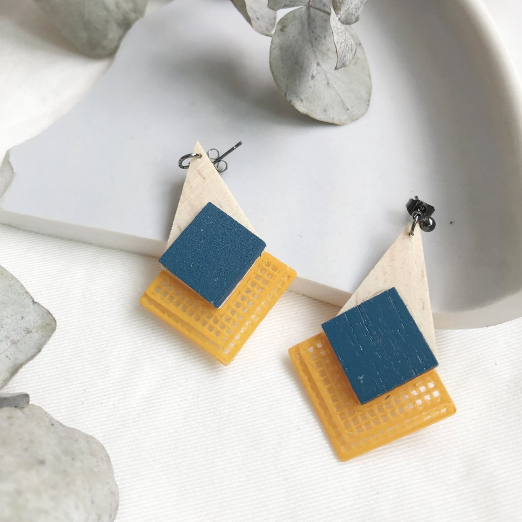 Navy Blue (with Mustard Yellow) dangling Earrings