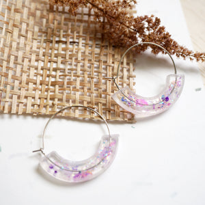 Whimsical Moon Hoop Earrings - Lilac