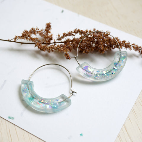 Whimsical Moon Hoop Earrings - Sea Blue