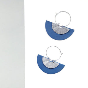Moon Blue (with Silver) Hoop Earrings