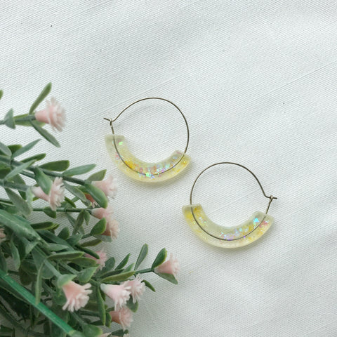Whimsical Moon Hoop Earrings - Yellow