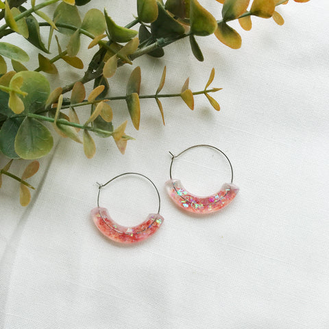 Whimsical Moon Hoop Earrings - Red