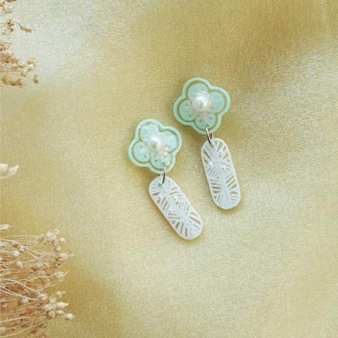 Phoenix w Floral studs (green) -  preorder