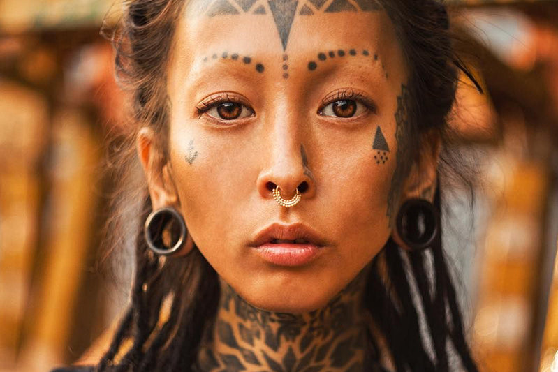 Tribal septum ring nose ring gold