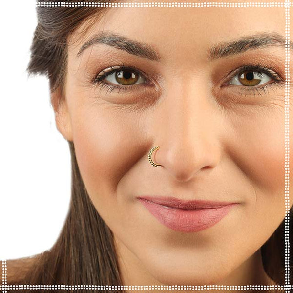 Gold Nose Ring - 14k Gold Cool Breeze - PataPataJewelry