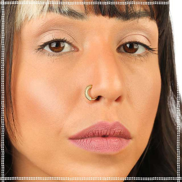 Solid Gold Nose Ring - Free Spirit - PataPataJewelry